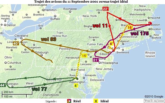 Trajet<br />&#10;des avions du 11 septembre 2001 versus trajet idéal, avec durées en<br />&#10;minutes (version réduite)