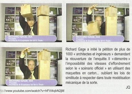 Encart du hors-série du magazine Science et pseudo-sciences consacré à la démonstration des cartons de Richard Gage (AFIS, 11 septembre 2001)