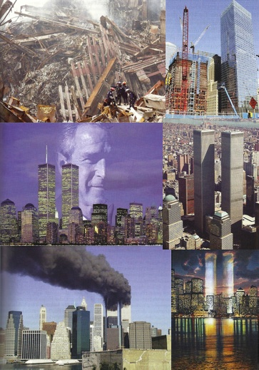 Images extraites de l'iconographie du hors-série du magazine Science et pseudo-sciences consacré aux attentats du 11 septembre 2001 : World Trade Center et Tours Jumelles (AFIS)